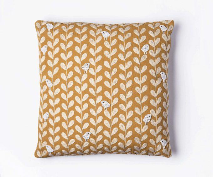 Gold mustard yellow linen cushion with birds pattern 50cm x 50cm