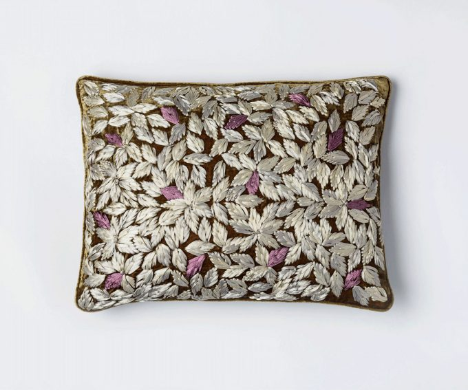 Enny Brown velvet cushion with embroidered leaf pattern