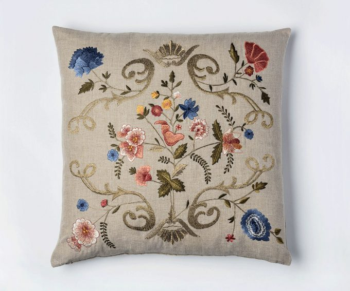 Florentina vintage style embroidered linen cushion 50mm x 50mm