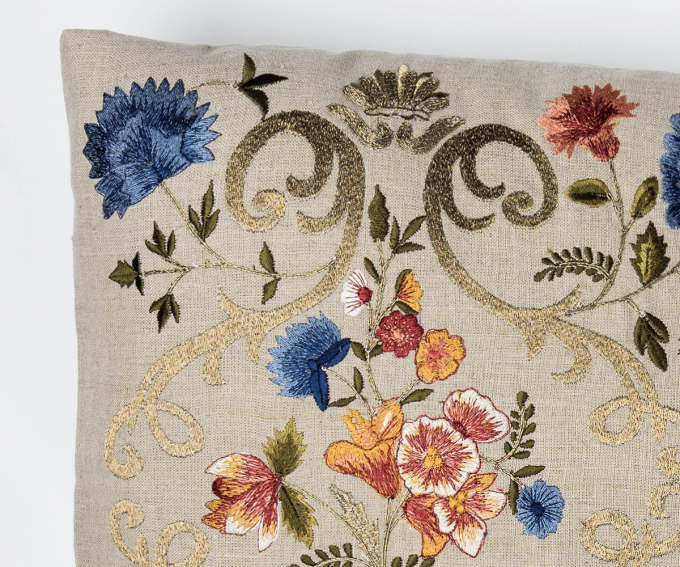 Florentina neutral embroidered linen cushion