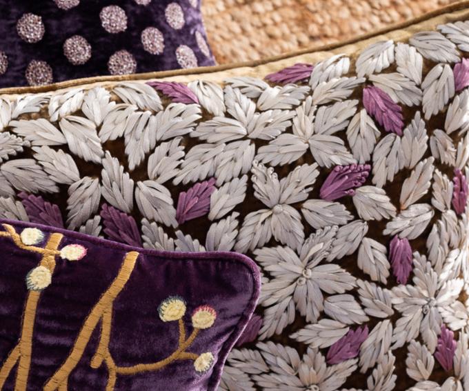 Hand embroidered silk velvet cushion
