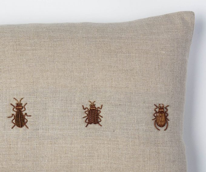 Beetles cushion – Natural linen, with metal work.