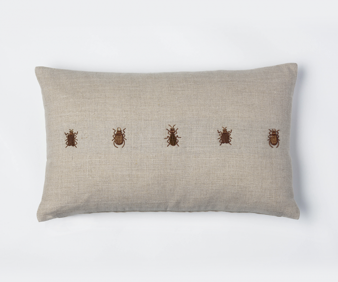 Beetles cushion - natural linen cushion detail with hand embroidered beetles 50cm x 30cm zari embroidery with metal thread