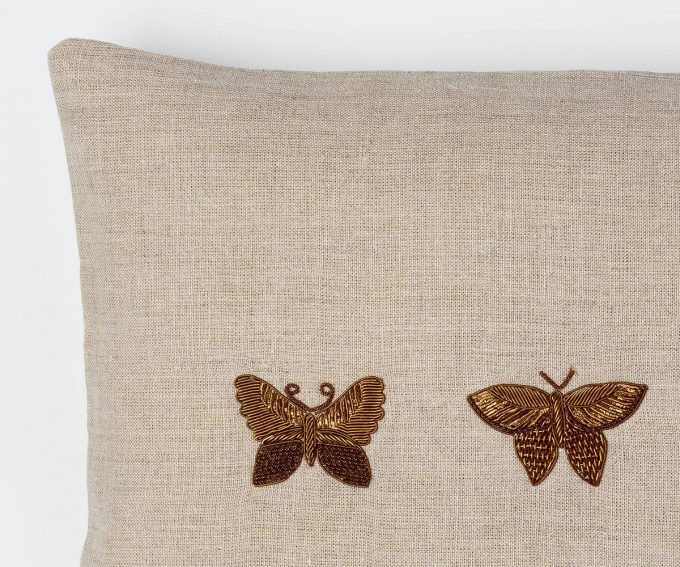 Natural linen cushion with hand embroidered butterflies 50cm x 30cm