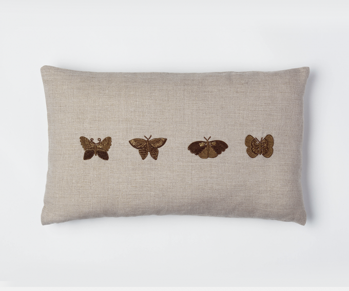 Natural linen cushion detail with hand embroidered butterflies 50cm x 30cm zari embroidery