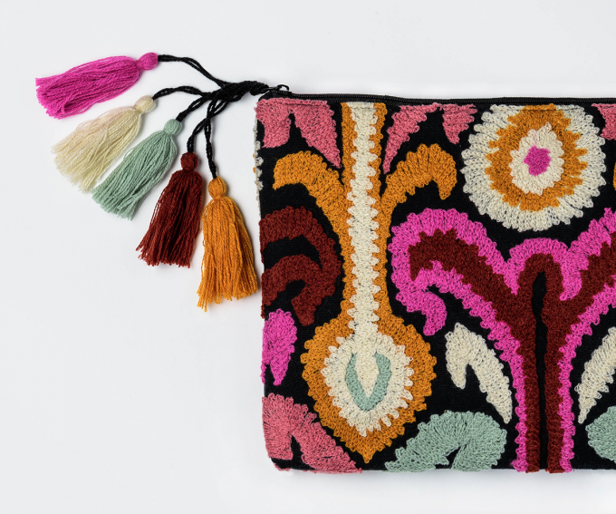 Zaza purse - in hot pink, marigold, black, cream, orange & soft blue