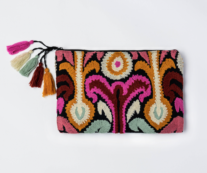 Zaza clutch, boho statement bag bag in pink, orange, light blue, cream and black