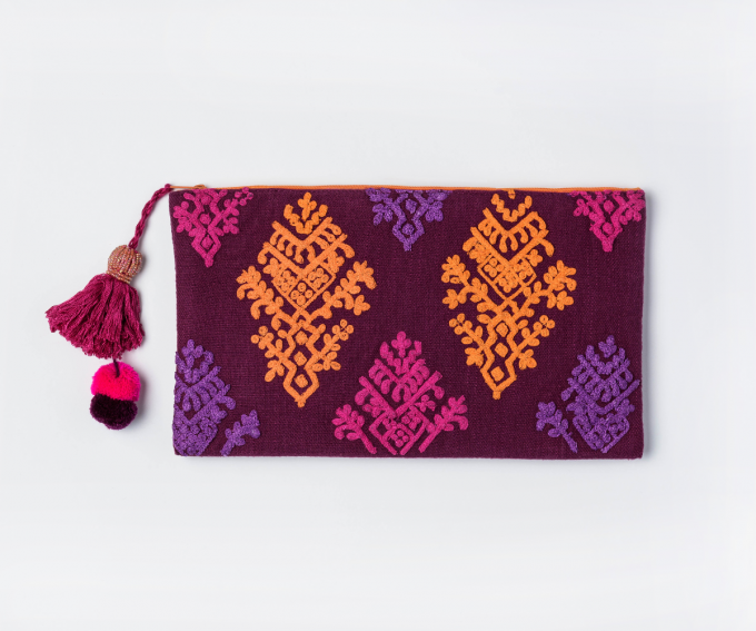 Pom Pom - boho embroidered evening bag