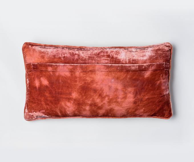 Dotty - silk velvet cushion with hidden zip- shaded rose pink 50mm x 25mm