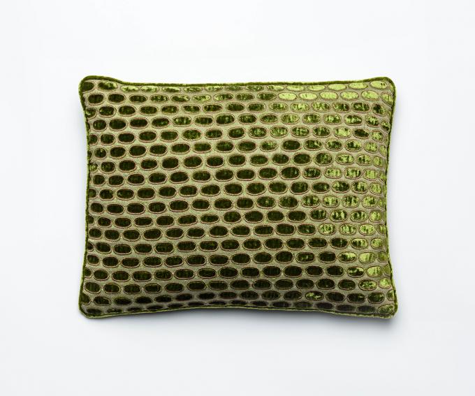 Hello – sage green cushion silk velvet 30mm x 40mm