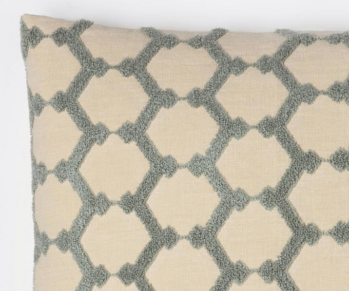 Honeycomb - large linen cushion with smoky blue/grey