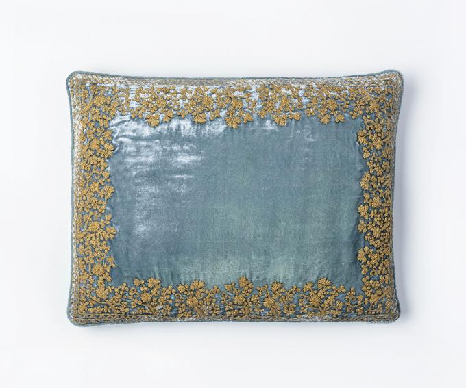 Jamila cushion - Jamila cushion - Light blue silk velvet cushion with gold hand embroidery 30mm x 50mm