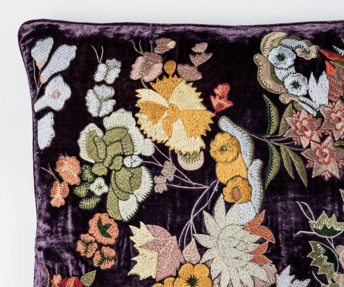 Kimberley - silk velvet cushion in grape