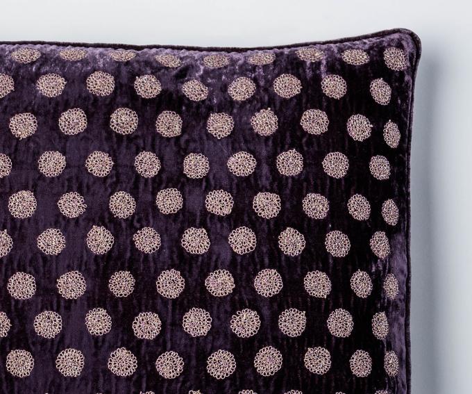 Medal - silk velvet polka dot cushion in grape