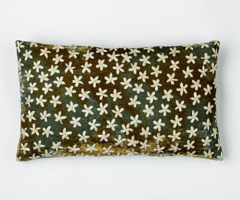 Riva - velvet embroidered cushion in shaded lake