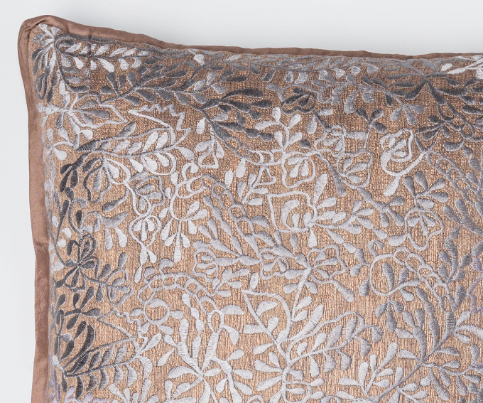 Filigree - large cushion in rosewood dusky pink tussar silk