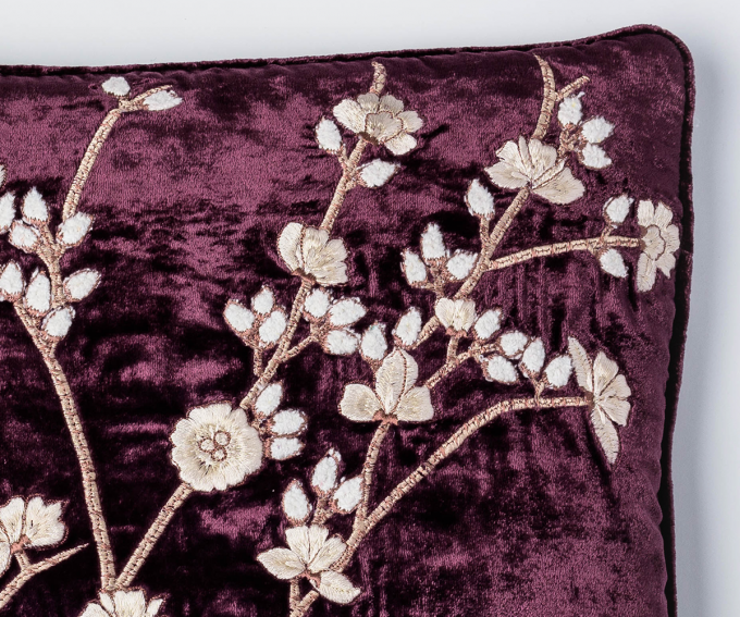 Purple velvet cushion with embroidered blossoms pattern 30cm x 40cm
