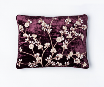 Tuileries - Purple silk velvet cushion with embroidered blossom pattern 30cm x 40cm