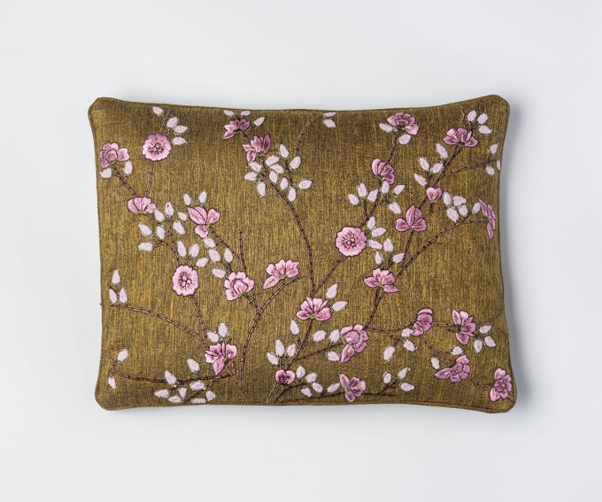 Brown silk cushion with embroidered pink blossoms 30cm x 40cm