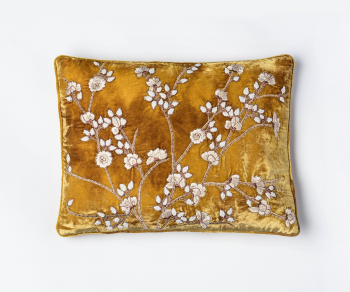 Tuileries - mustard gold cushion with embroidered blossoms pattern 30cm x 40cm