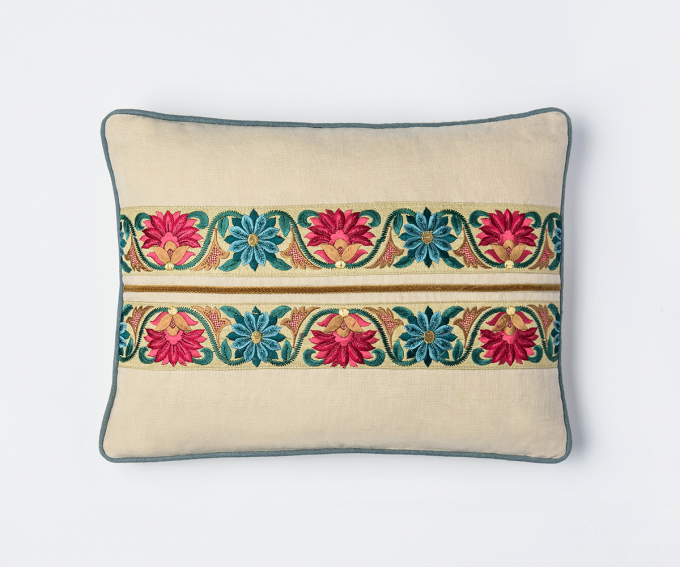 Chamani - cream linen cushion with embroidered flowers and blue and gold detail 30mm x 40mm
