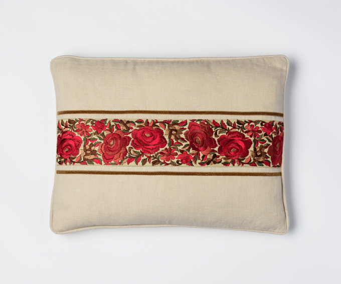 Suri - cream linen cushion with embroidered red roses and velvet ribbon detail 30mm x 40mm