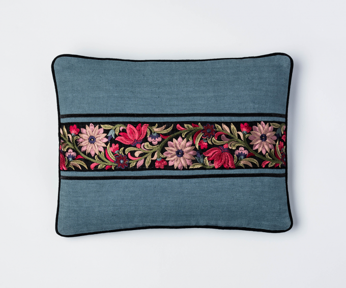 Chamani - cream and teal cushion with embroidered border