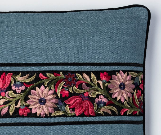 Laylah - blue linen cushion with Parsee embroidered border