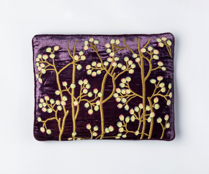 Purple velvet cushion with hand embroidered yellow and gold berries 30cm x 40cm