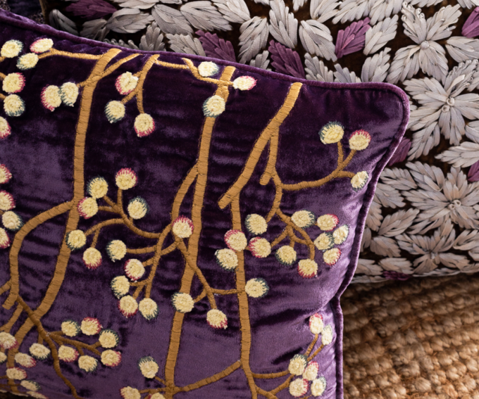 Purple silk velvet cushion with embroidered berries pattern 30cm x 4cm