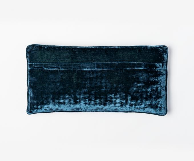 Reverse side of Dotty cushion indigo blue velvet cushion