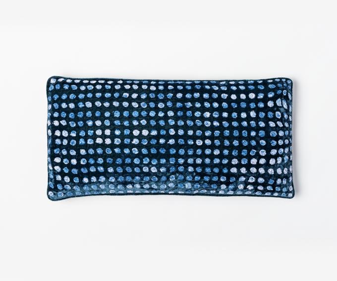 Dotty cushion Majolica - indigo blue velvet cushion 25cm x 50cm