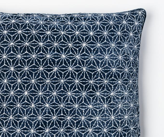 Kyoto cushion detail - Navy blue embroidered silk velvet cushion with geometric pattern 50cm x 50cm
