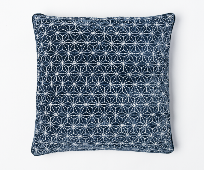 Kyoto cushion indigo blue embroidered cushion with geometric pattern