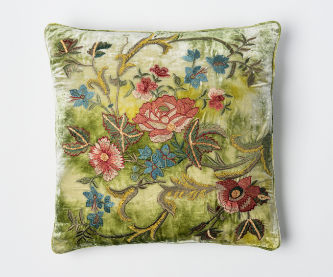 Lola silk velvet cushion in shaded mint featuring hand embroidered flowers