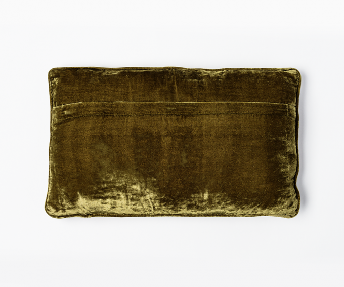 Olive green velvet cushion with embroidered flowers 40cm x 30cm