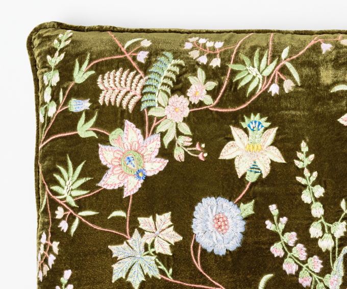 Madame Bovary cushion detail - olive green velvet cushion with embroidered flowers 40cm x 30cm