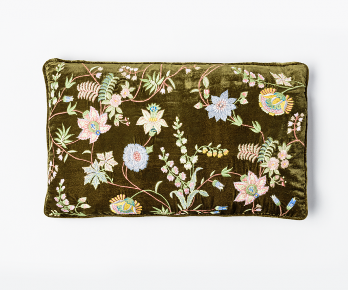 Madame Bovary cushion - olive green velvet cushion with embroidered flowers 40cm x 30cm