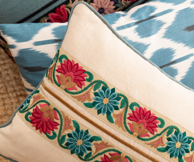 Chamani- cream linen cushion with embroidered flowers and blue and gold detail 30cm x 40cm