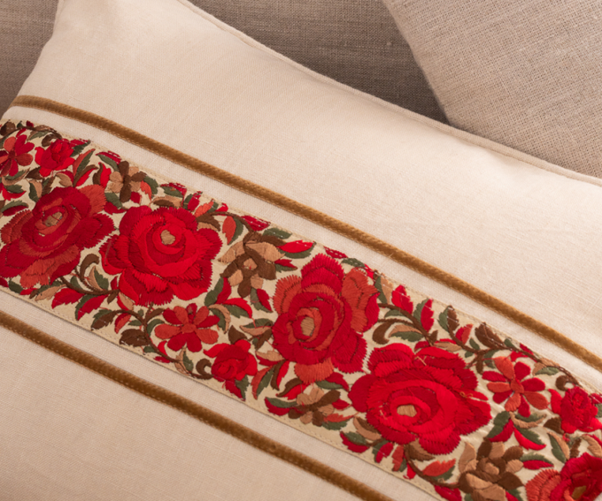Suri - cream linen cushion with embroidered red roses and velvet detail 30cm x 40cm