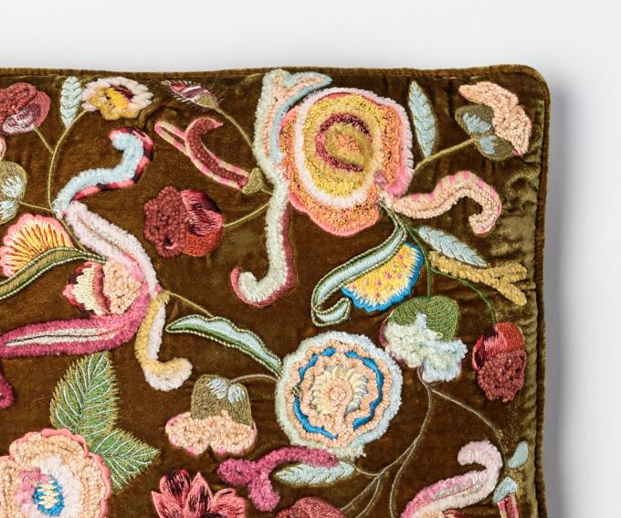 Pompadour silk velvet cushion 30cm x 40cm