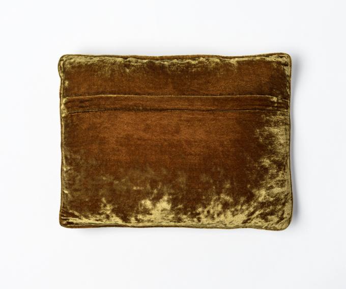 Pompadour - embroidered cushion in light brown silk velvet