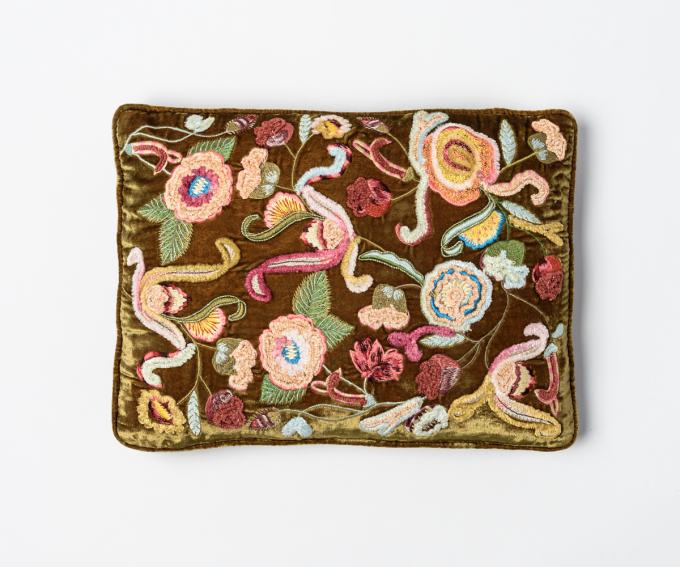 Pompadour silk velvet cushion hand embroidered flowers light brown