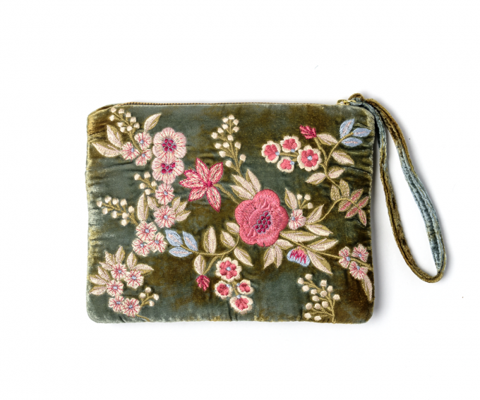 liza silk velvet pouch with hand embroidered flowers