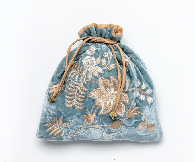 Madame Bovary pouch – ocean blue silk velvet with hand embroidered flowers and gold drawstrings and beading.