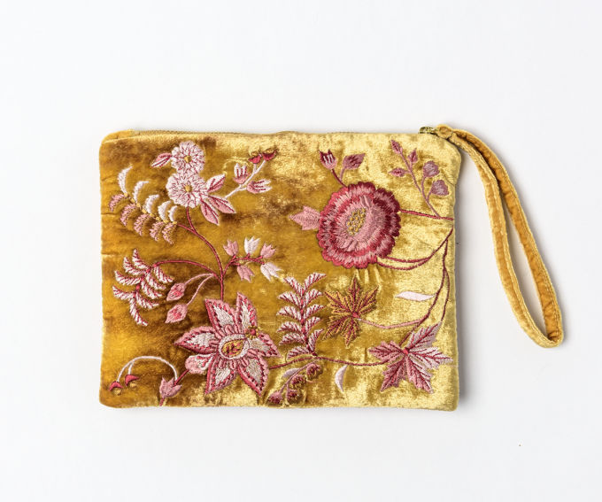 Gold silk velvet evening bag with hand embroidered flowers