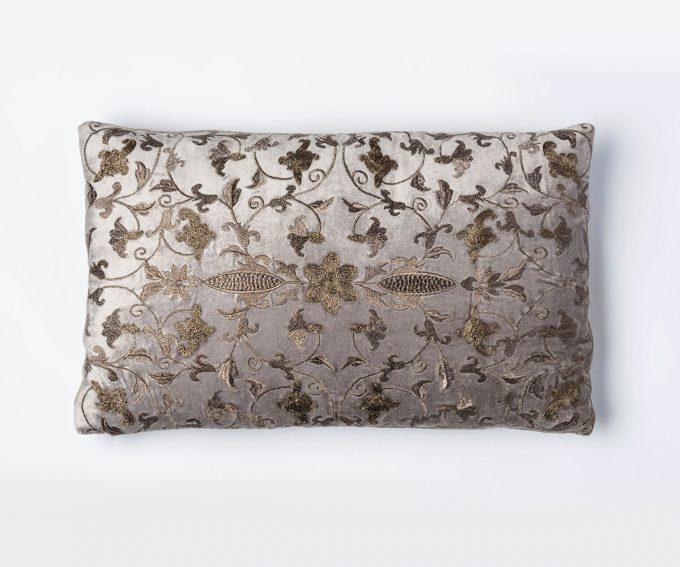 Arabesque platinum metallic cushion 50cm x 30cm