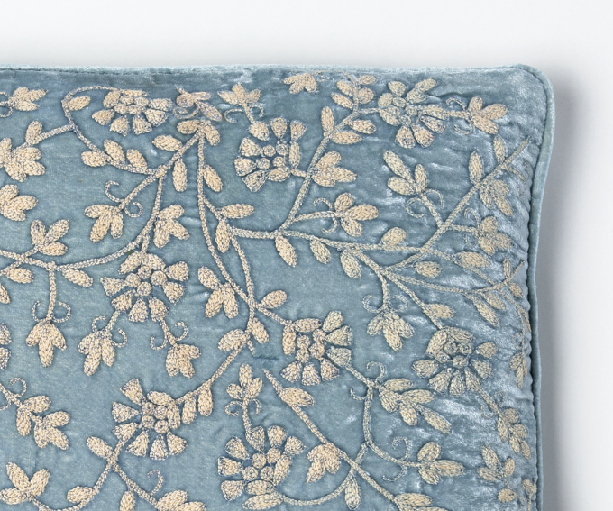 Light blue silk velvet cushion with hand embroidery 30cm x 50cm