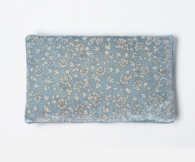 Cannes - Light blue silk velvet cushion with hand embroidery 30cm x 50cm
