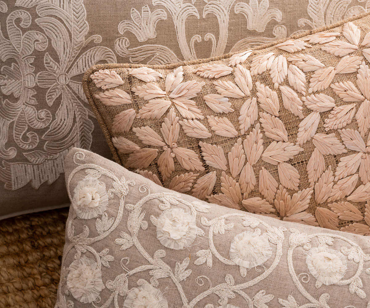 Collection of neutral cushions at Donna Hoyle Design
